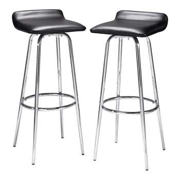 HOME Pair of Black and Chrome Swivel Head Bar Stools