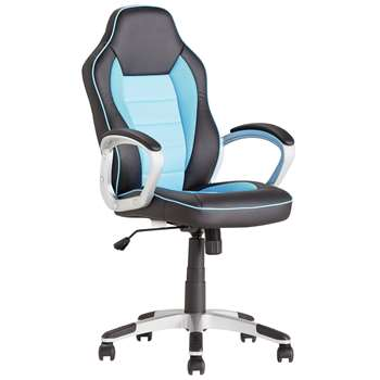 HOME Racing Style Office Gaming Chair - Blue (113.5 x 62.5cm)