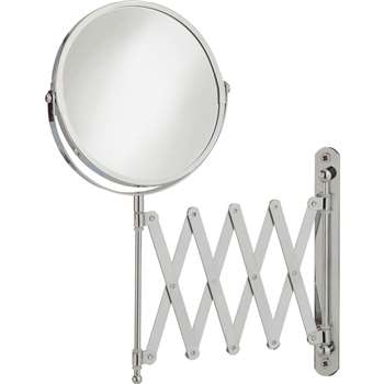 HOME Round Extendable Shaving Mirror - Chrome (35 x 21cm)