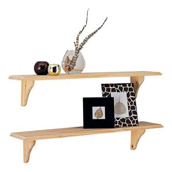 HOME Set of 2 Wooden Shelves - Unfinished Pine 18.2 x 89cm