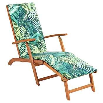 HOME Steamer Chair with Palm Cushion (91 x 56 x 160cm)