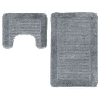 HOME Striped Bath and Pedestal Mat Set - Grey 50 x 80cm