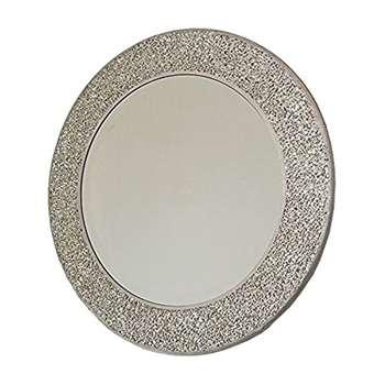 Home Treats Silver Mosaic Round Mirror (Diameter 40cm)