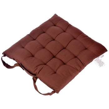 Homescapes - Chair Seat Pad, Chocolate Brown (H40 x W40cm)