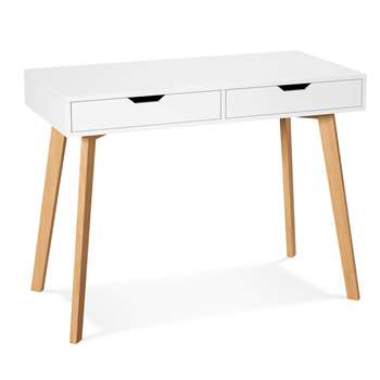 Homfa Desk with Drawers, White (H77 x W100 x D50cm)