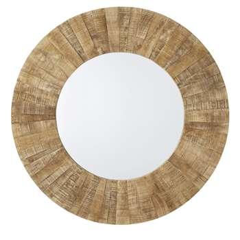 HONALO - Round Recycled Wood Mirror (Diameter 120cm)