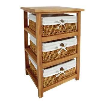Honey Wood Storage Unit with 3 Maize Baskets 63 x 40cm