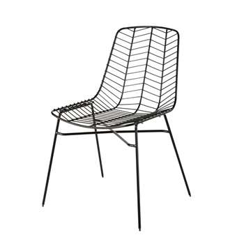 HONOLULU Matte Black Openwork Metal Garden Chair (H86 x W58 x D57cm)