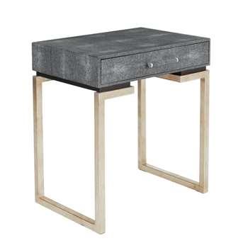 Honshu Faux Shagreen Bedside Table  - Onyx (58 x 52cm)