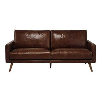 HOOPER 3 seater leather sofa in cognac colour (90 x 201cm)