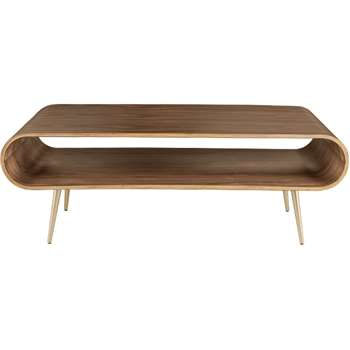Hooper Storage Coffee Table, Walnut and Brass (45 x 120cm)