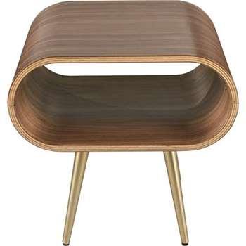 Hooper Storage Side Table, Walnut and Brass (27 x 57cm)