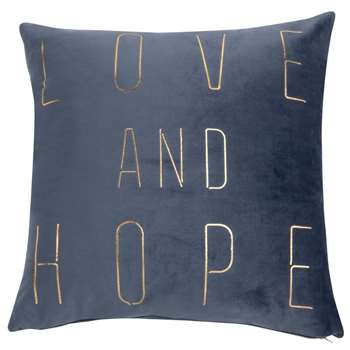 HOPE Grey Cushion Cover with Gold Print (H40 x W40cm)