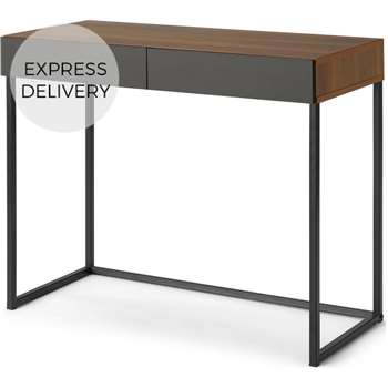 Hopkins Compact Desk, Walnut Effect & Grey (H75 x W90 x D42cm)