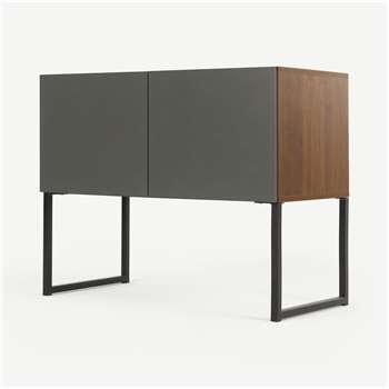 Hopkins Sideboard, Walnut Effect & Grey (H65 x W80 x D40cm)