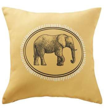 HORTON Yellow Outdoor Cushion with Black Elephant Print (H45 x W45 x D10cm)