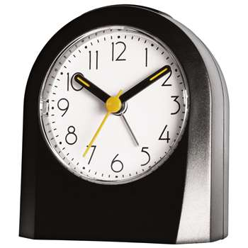 House by John Lewis Alarm Clock, Black (H9 x W7.8 x D4cm)