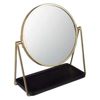 House by John Lewis Brass Tray Pedestal Mirror (H21.5 x W20.5 x D7.5cm)