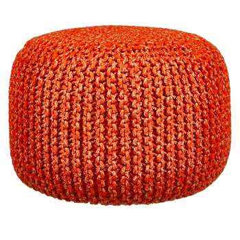 House by John Lewis Chunky Knit Pouffe, Chilli (35 x 50cm)