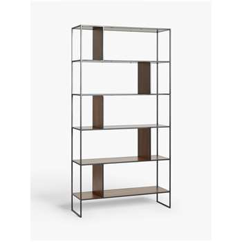House by John Lewis Dice Shelving Unit Bookcase, Walnut/Black (H190 x W100 x D32cm)
