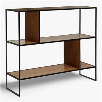 House by John Lewis Dice Shelving Unit, Walnut/Black (H86 x W100 x D32cm)