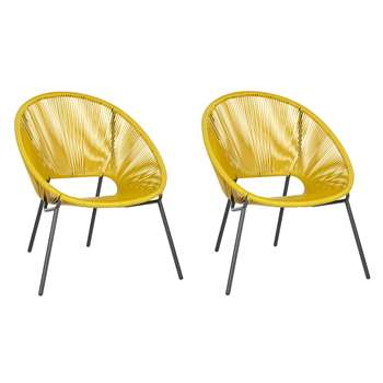 House by John Lewis Salsa Garden Chair, Set of 2, Saffron (H81.5 x W72 x D69cm)