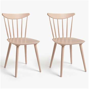 House by John Lewis Spindle Dining Chair, Set of 2, FSC Certified (Beech), Pink (H83.5 x W49 x D50cm)