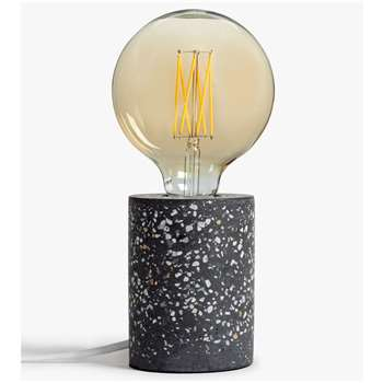 House by John Lewis Terrazzo Bulbholder Table Lamp, Steel Grey (H13 x W9.5 x D9.5cm)