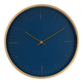 House by John Lewis Wall Clock, Navy/Brass (H30 x W30 x D4cm)