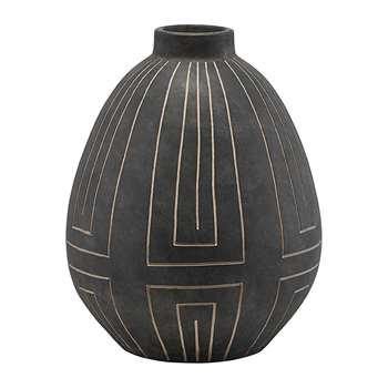 House Doctor - Aljeco Vase - Grey/Black (H40 x W32.5 x D32.5cm)