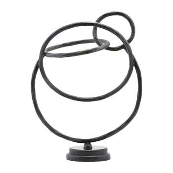 House Doctor - Circles Sculpture - Iron/Marble - Black (H38.5 x W32 x D19.5cm)