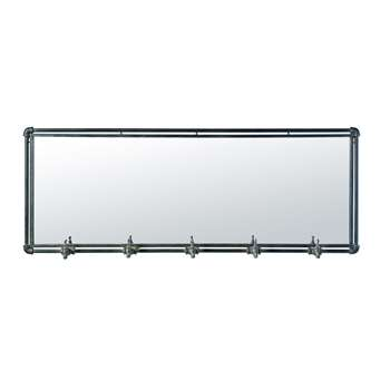 HOUSTON - Black Metal Industrial Mirror with 5 Hooks (H51 x W135 x D10cm)