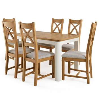 Hove 4ft 3 inches  White Extendable Dining Table and 6 Cross Back Chairs (H77 x W130 x D80cm)