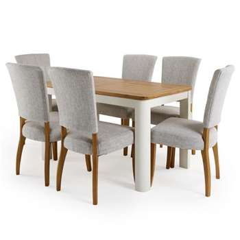 Hove 4ft 3 inches White Extendable Dining Table and 6 Curved Back Chairs (H77 x W130 x D80cm)