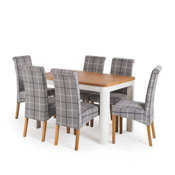 1a5203811f Hove 4ft 3 inches White Extendable Dining Table and 6 Scroll Back Chairs,  Grey Check