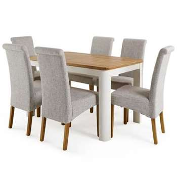 Hove 4ft 3 inches White Extendable Dining Table and 6 Scroll Back Chairs (H77 x W130 x D80cm)
