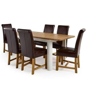 """Hove 4ft 3"""" White Extendable Dining Table and 6 Braced Scroll Back (H77 x W130 x D80cm)"""
