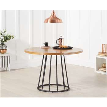Hoxton 110cm Ash and Veneer Round Dining Table (H75 x W110 x D110cm)