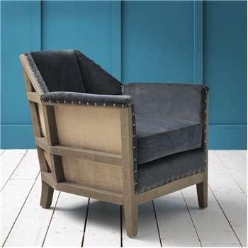 Hoxton Grey Velvet Armchair (H73 x W76.5 x D76cm)