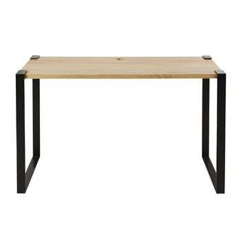 HOXTON PRO - Professional Quality Solid Mango Wood and Black Metal Desk (H75 x W120 x D60cm)
