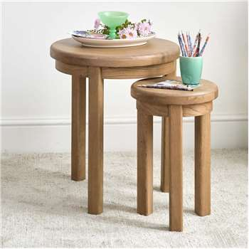 Hudson Round Nest of Two Tables (H60 x W52 x D52cm)