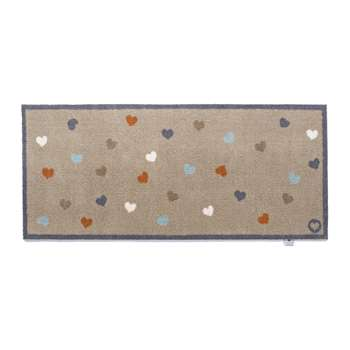 Hug Rug - Hearts Washable Recycled Door Mat - Nude (H65 x W150cm)