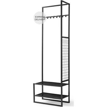 Hugin Coat Rack & Shoe Storage, Black (H181 x W60 x D30cm)