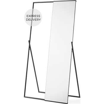 Hugin Freestanding Mirror & Clothes Rail, Black (H158 x W81 x D45cm)