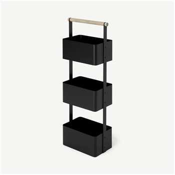 Huldra Bathroom Shelves Storage Caddy, Black Metal & Wood (H78 x W31 x D18cm)