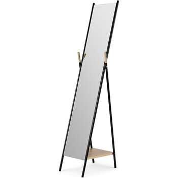 Huldra Freestanding Mirror with Shelf, Black (H159 x W38 x D42cm)