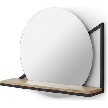Huldra Wall Mounted Mirror with Shelf, Black (H46 x W55 x D13cm)