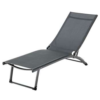 HURGHADA Charcoal Grey Aluminium Sun Lounger in plastic-coated canvas (49 x 51 x 174cm)