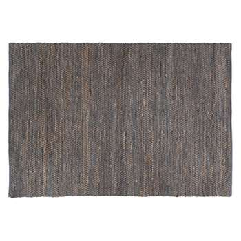Hurley Large grey leather and jute rug 170 x 240cm