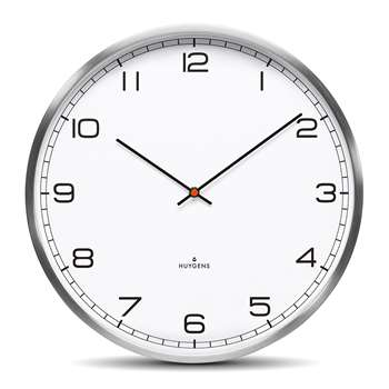Huygens - One Silent Wall Clock - White Arabic (Diameter 25cm)